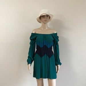 Max Studio mini Off-shoulder teal dress long sleev
